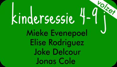 kindersessie bij Joke Delcour, Elise Rodriguez, Joke Delcour en Jonas Cole